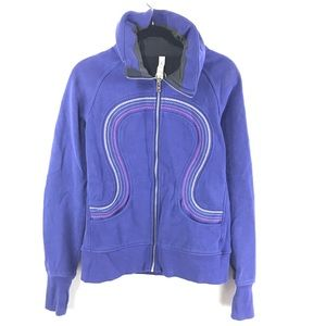 Lululemon 10 Purple Embroidered Full Zip Jacket